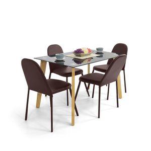 Set Comedor Cadiz Rectangular 4 puestos Cuero Chocolate - Muebles Venecia