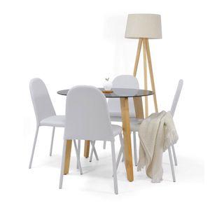 Set Comedor Cadiz Oval 4 puestos Cuero Plata - Muebles Venecia