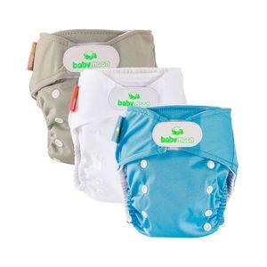 Set 3 Ecopañales de Tela Gris, Blanco y Azul - Babymoon