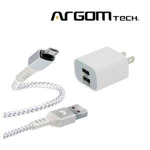 Cable Flexible Argom Tech Micro USB + Cargador de Pared 2 Puertos. CB0021WT+AC0105