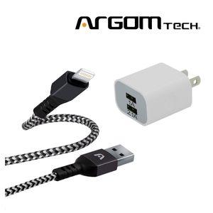 Cable Lightning Trenzado Argom Tech + Cargador de Pared 2 Puertos. CB0023BK+AC0105