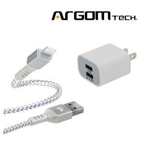 Cable Lightning Trenzado Argom Tech + Cargador de Pared 2 Puertos. CB0023WT+AC0105