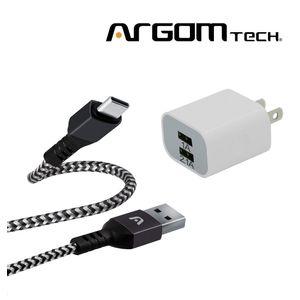 Cable Tipo C Trenzado Argom Tech  + Cargador de Pared 2 Puertos. CB0023BK+AC0105