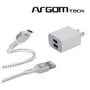 Cable Tipo C Trenzado Argom Tech  + Cargador de Pared 2 Puertos. CB0023WT+AC0105