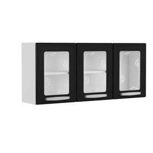 Mueble Superior de Cocina tres Puertas de Vidrio Bertolini Plus Negro