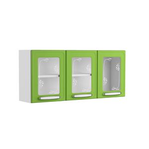 Mueble Superior de Cocina tres Puertas de Vidrio Bertolini Plus Verde