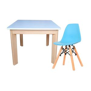 Mesa Infantil Cuadrada + Silla Eames Kid Ekonomodo - Azul