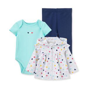 Set Chaqueta, Body y Pantalón Corazones Niñas Little Me - Bebés